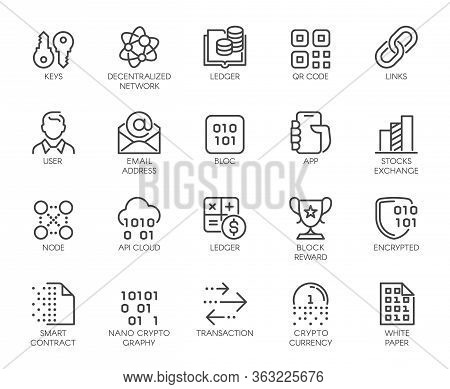 Premium Icons Pack On Blockchain System, Crypto Technology . Such Line Signs As Cryptocurrency, Dece
