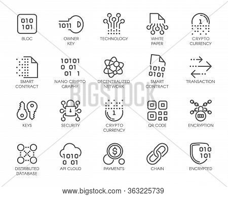 Premium Icons Pack On Blockchain System, Crypto Technology . Such Line Signs As Cryptographic, Decen