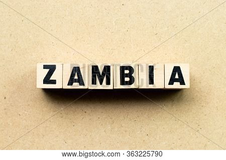 Alphabet Letter Block In Word Zambia On Wood Background