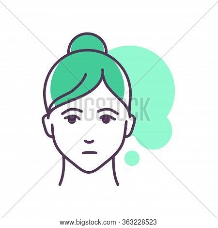 Human Feeling Nostalgia Line Color Icon. Face Of A Young Girl Depicting Emotion Sketch Element. Cute