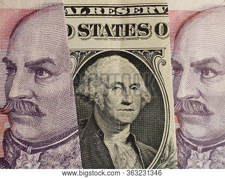 Approach To American One Dollar Bill And Croatian Banknotes Of Twenty Kuna