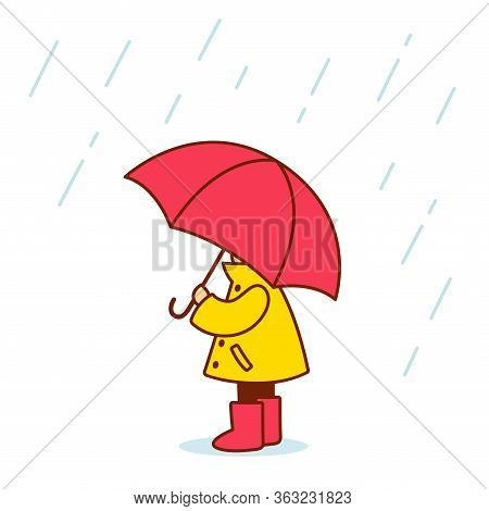 Little Child With Umbrella In Raincoat And Rain Boots. Cute And Simple Cartoon Vector Illustration.