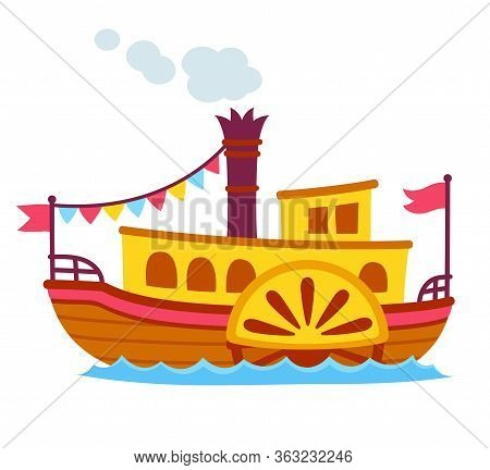 Bright Cartoon Retro Steamboat With Side Paddle Wheel. Old Vintage Ship Vector Illustration, Cute An