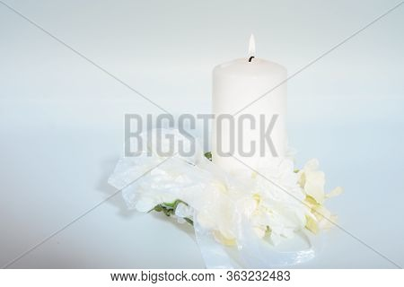 Romantic Light Of Candle With White Flowers.  Love And Romance Flowers And Candle. Love With White F