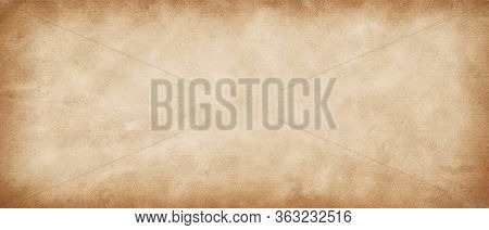 Long Panoramic  Vintage Retro Antique Paper Background. Light Yellow-brown Old Paper Texture. Rustic