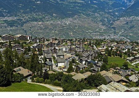 Holiday Resort Nendaz Rising Above The Rhone Valley, Nendaz, Valais, Switzerland
