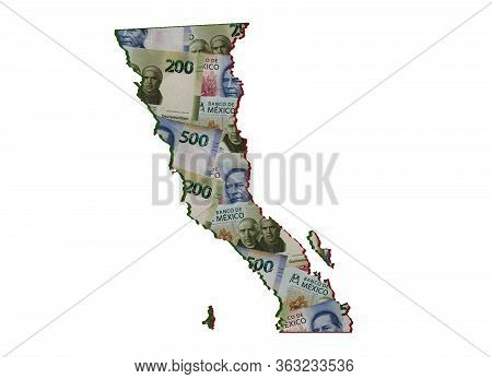 Mexican Banknotes Forming And The Map Of Baja California Norte State And White Background