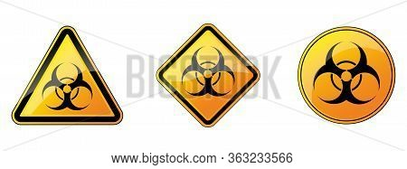Biohazard Sign. Set Of Biohazard Danger Signs. Vector Illustration. Warning Symbols. Yellow Hazard S