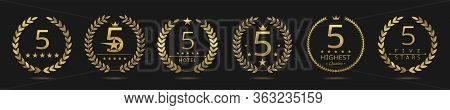 Five Star Badge Set. Golden Laurel Wreath Set, Best Hotel Symbol. 5 Stars
