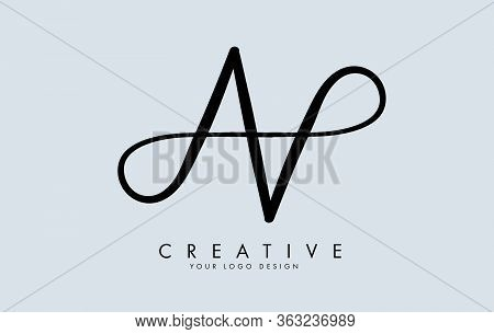 Handwritten Double Aa Letter Logo Design. Reflection Effect Vector Illustration.reflection Effect Ve