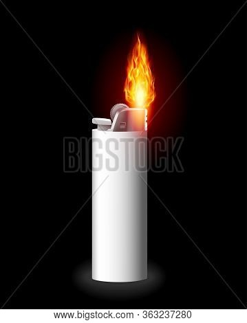 Lighter Vector Cigarette-lighter With Fire Or Flame Light To Burn Cigarette. Illustration Of Flammab
