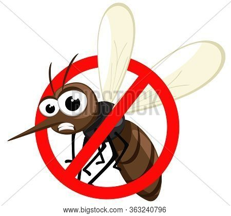 Insect Mosquito In Prohibition Sign, Stop Mosquito On A White