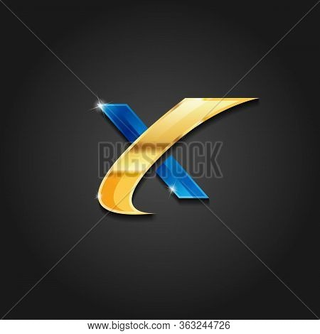 Letter X Shiny Gold And Blue Metallic Logo