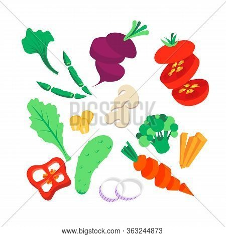 Vegetables Set. Preparing Salad. Whole, Sliced And Chopped Various Vegetables- Tomato, Beetroot, Gre