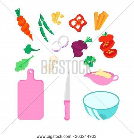 Set Of Various Vegetables, Cut Board, Knife, Glass Bowl, Gravy Boat With Sause. Cooking Classes Top