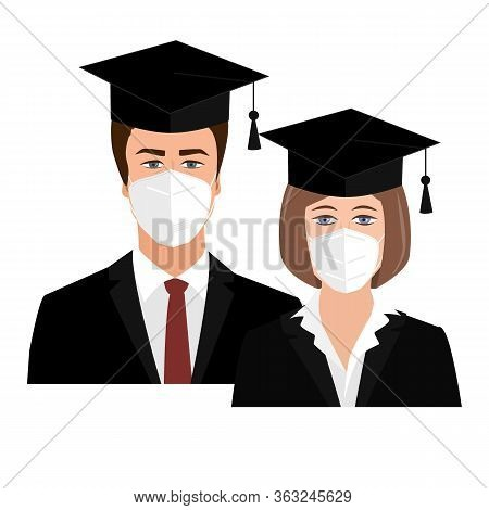 Cute University Graduates In Bonnets And Medical Masks. Quarantine 2020 Graduation Concept. Girl And