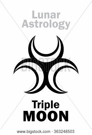 Astrology Alphabet: Triple Moon. Mystical Symbol Of Three-faced Goddess Of The Moon. Emblem Of Lunar