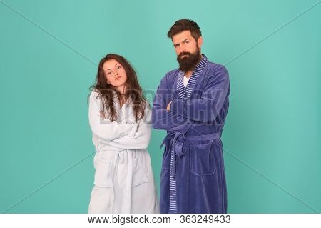 Being Soft And Cozy. Couple In Love Feel Cozy In Bathrobes. Sexy Girl And Bearded Man Relax In Cozy