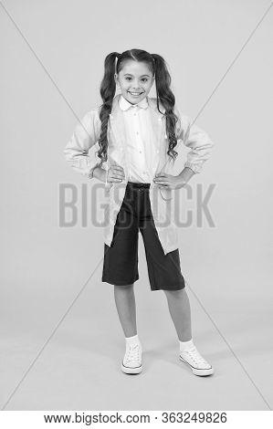 Waterproof Concept. Small Schoolgirl Wear Water Resistant Clothes. Cute Schoolgirl Feel Protected. H