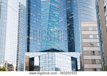 Paris, France - September 29, 2017: Glass Windows And Walls. Glass Facade Skyscrapers La Defense. To
