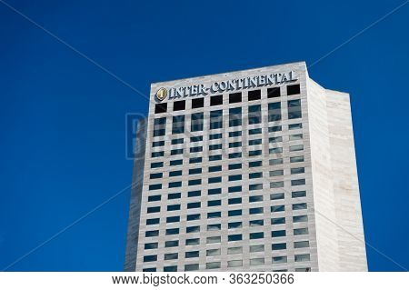 Miami, Usa - February 29, 2016: Intercontinental Hotel. High Building On Blue Sky. Travel Business.