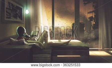 Self-quarantine Concept, A Girl With Wearing A Gas Mask Lying On The Sofa Reading A Book In Her Room