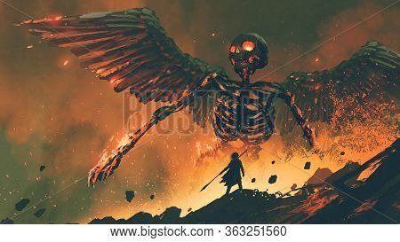 Man With His Spear Waking Up The Giant Skeleton From Hell, Digital Art Style, Illustration Painting