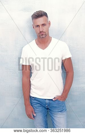 Style And Versatility Of Quality Tshirt. Summer Fashion. Mature Man Casual Outfit. Fashion Model. Ha