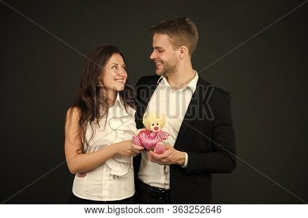 Bound Via Love. Formal Couple With Toy Bear. Joint Business. Man And Woman Corporate Attire Fashion.