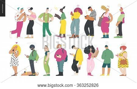 Waiting In Line - Modern Flat Vector Concept Illustration Of A Young Men A Women Standing In Line Wi