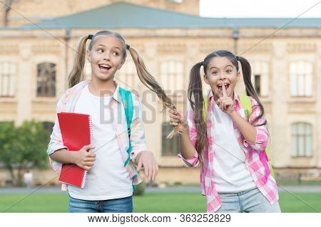Shh Girls Secret. Happy Children Keep Secret. Small Girl Makes Secret Gesture. Friends And Friendshi