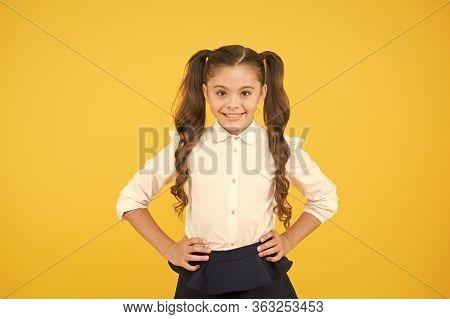 Succeed In Studying. Smiling Schoolgirl. Emotional Happy Schoolgirl. Schoolgirl Pupil Long Hair Cute