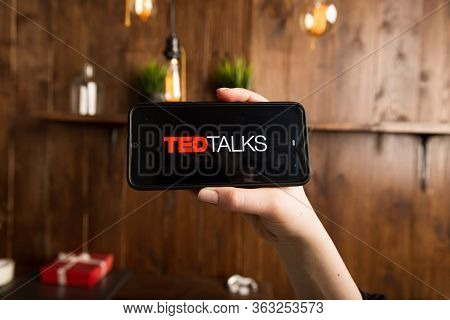 Tula Russia 16.01.20 Ted Talks On The Phone Display Isolated.