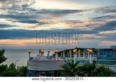 August 28, 2018, Porec, Istria, Croatia: Coastline And Beaches With Vacationers Marina Porec On The