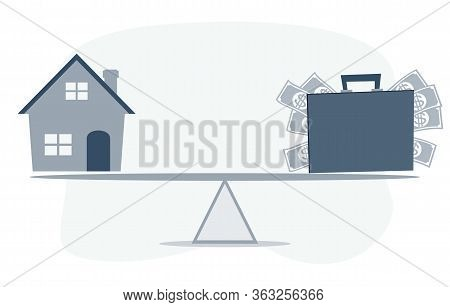 Housing Loan Market. Sample Houses And Suitcase On The Seesaw Real Estate Concepts. Stock Flat Vecto