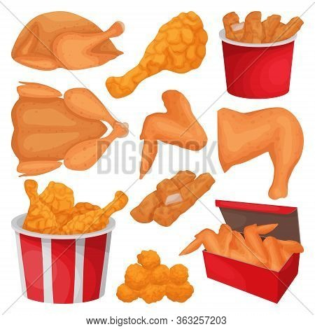 Fried Chicken Isolated Cartoon Set Icon. Vector Illustration Crispy Wing On White Background. Vector