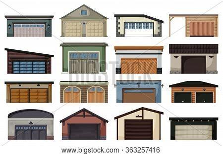 Garage Isolated Cartoon Set Icon. Vector Cartoon Set Icon Car House. Vector Illustration Garage On W