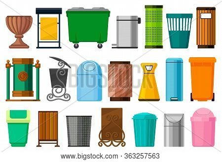Rubbish Bin Isolated Cartoon Set Icon.vector Cartoon Set Icon Dustbin. Vector Illustration Rubbish B