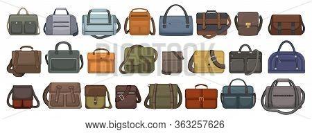 Men Bag Vector Cartoon Set Icon. Isolated Cartoon Set Icon Leather Satchel. Vector Illustration Men