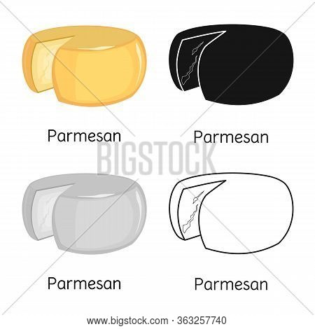 Vector Illustration Of Cheese And Parmesan Symbol. Graphic Of Cheese And Slice Vector Icon For Stock