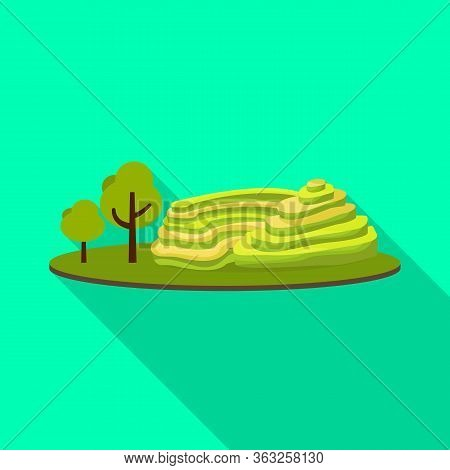 Vector Illustration Of Rice And Field Symbol. Set Of Rice And Terrace Stock Vector Illustration.