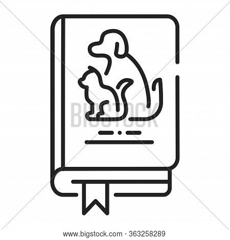 Pets Book Black Line Icon. Animal Guide Book. Learning How To Behave With Pets At Home. Training Pet