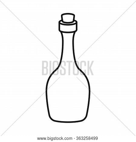 Vector Design Of Rum And Bottle Logo. Graphic Of Rum And Stopper Vector Icon For Stock.