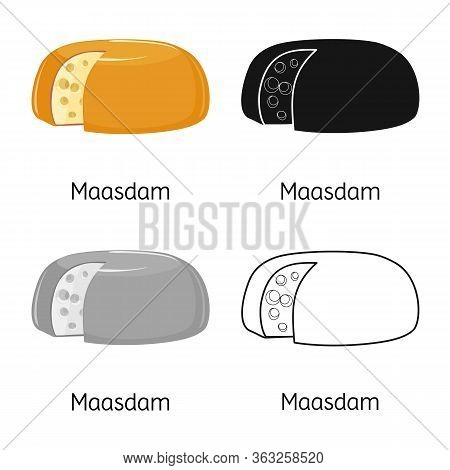 Vector Design Of Cheese And Maasdam Sign. Web Element Of Cheese And Piece Stock Vector Illustration.