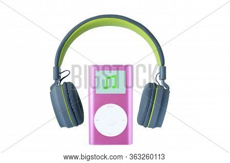 Pastel Color Headphones And Pink Color Mp3 Player On White Background, Modern Electronic Gadgets