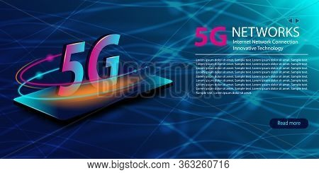5g Network New Wireless Internet Wifi Connection. Technology Neon Glowing Abstract Background. Innov