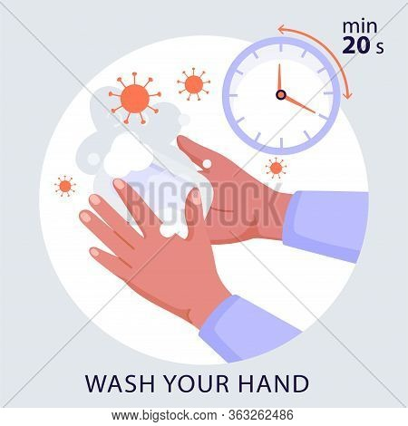Washing Your Hands With Soap To Prevent Coronavirus Infection. Precautions For 2019-ncov Coronavirus