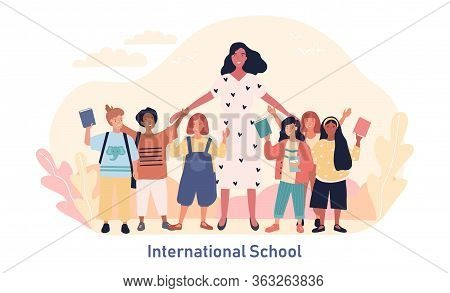Teacher Surrounded With Diverse Multiracial Students At An International School Waving At The Camera