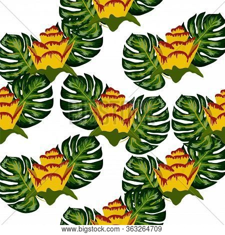 Summer Seamless Tropical Pattern With Bright Yellow And Pink Plants And Leaves. Seamless Exotic Patt