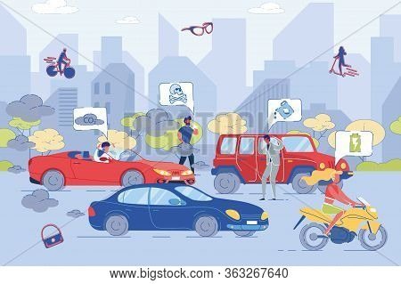 Vehicle Work On Harmful Versus Healthy Fuel On Road. Traditional And Alternative Auto Energy Bad And